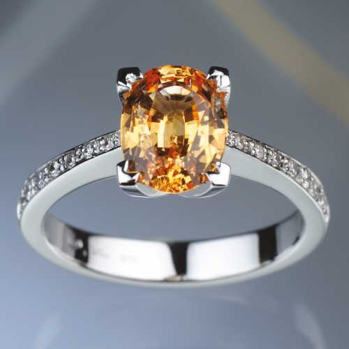 Prsten - oranžový safír