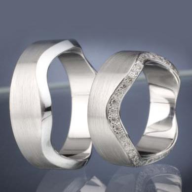 Platinové snubní prsteny vzor č. SN42