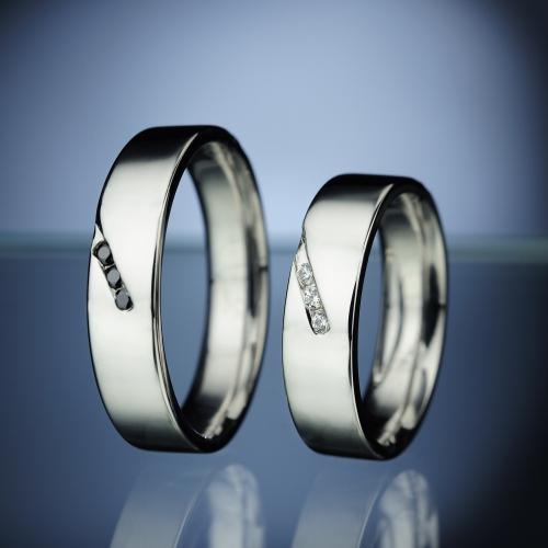 Platinové snubní prsteny s diamantem vzor č. SN80