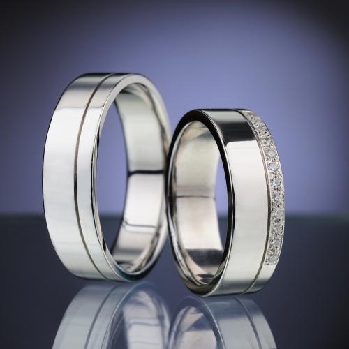 Platinové snubní prsteny vzor č. SN83