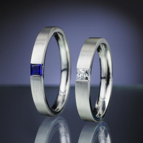 Snubní prsteny s diamantem a safírem vzor č. SN79