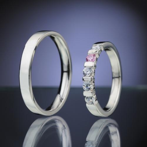 Snubní prsteny s diamanty a safírem vzor č. SN84