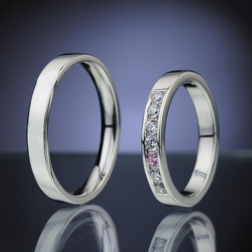 Snubní prsteny s diamanty a safírem vzor č. SN85
