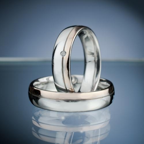 Snubni Prsteny Z Bileho A Ruzoveho Zlata S Diamantem Vzor C Sn58