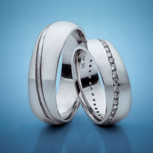 Snubní prsteny z platiny s diamanty vzor č. SN25