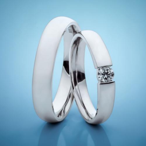 Snubní prsteny z platiny s diamantem vzor č. SN1