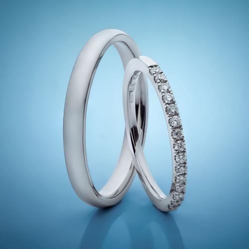 Platinové snubní prsteny s diamanty vzor č. SN90