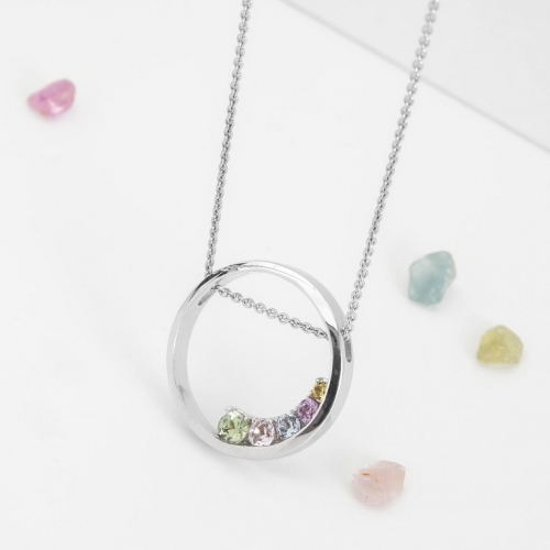 Přívěšek kruh s barevnými safíry vzor č. 0232