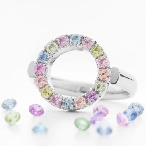 Prsten kruh s barevnými safíry vzor č. 0170
