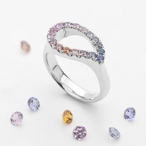 Prsten slza s barevnými safíry vzor č. 0173