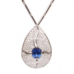 Luxusní náhrdelník Kapka - Modrý safír