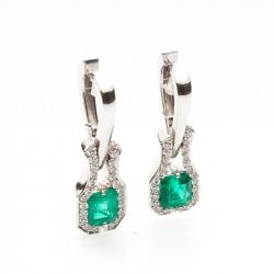 Smaragdové náušnice s diamanty