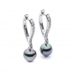 Náušnice s diamanty a tahitskými perlami vzor č. 0062