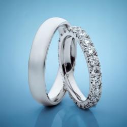 Snubní prsteny z platiny s diamanty vzor č. SN90
