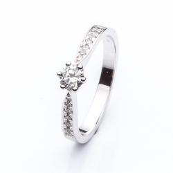 Platinový zásnubní prsten s briliantem vzor č. 0148