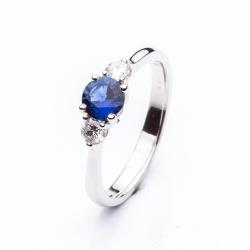 Prsten s modrým safírem vzor č. 0128