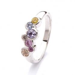 Prsten s barevnými safíry vzor č. 0171