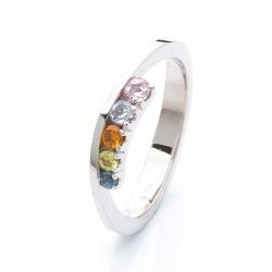 Prsten s barevnými safíry vzor č. 0172
