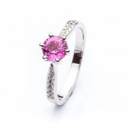 Prsten s růžovým safírem vzor č. 0148