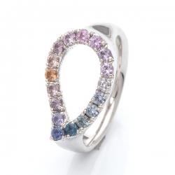 Prsten s barevnými safíry vzor č. 0173