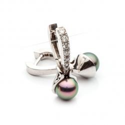 Náušnice s černou perlou a diamanty vzor č. 0058
