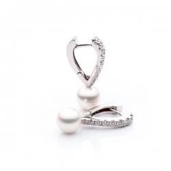 Náušnice s perlou a diamanty vzor č. 0069