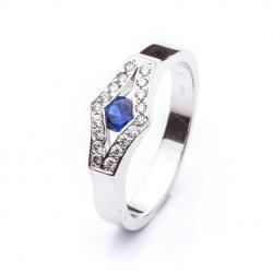 Prsten s modrým safírem vzor č. 0101