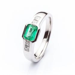 Prsten se smaragdem vzor č. 0117