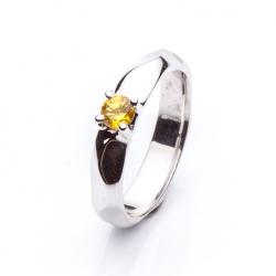 Prsten se žlutým safírem vzor č. 0135