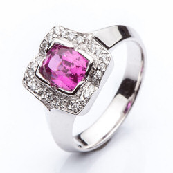 Prsten s růžovým safírem vzor č. 0161