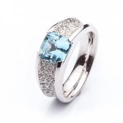 Prsten s modrým Aquamarínem vzor č. 0164